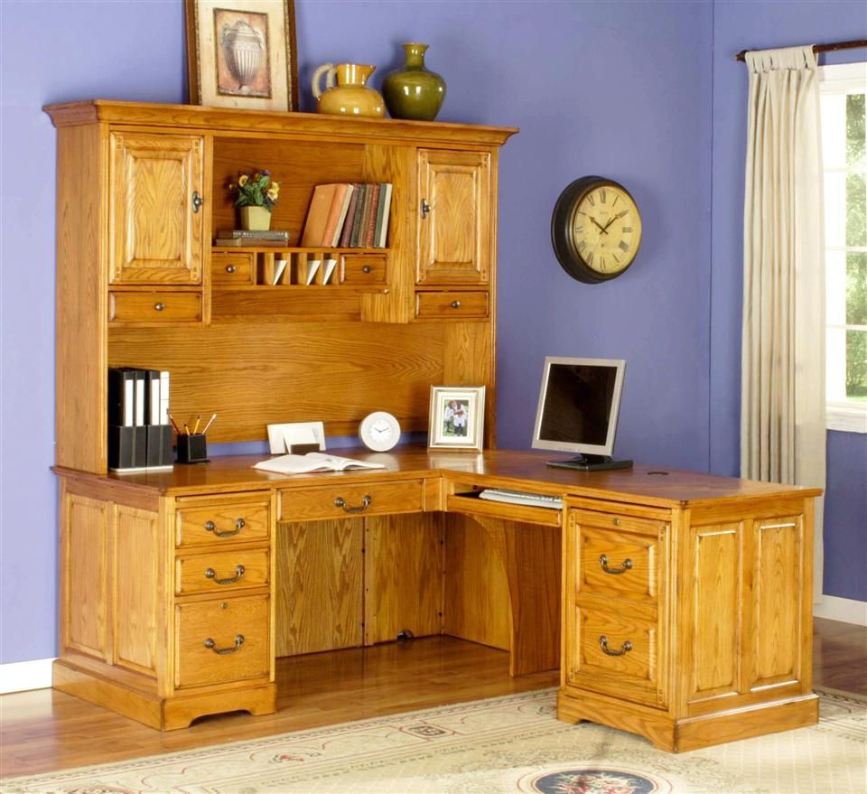 L Shape Return Desk W Executive Hutch Set In Golden Oak Cambridge