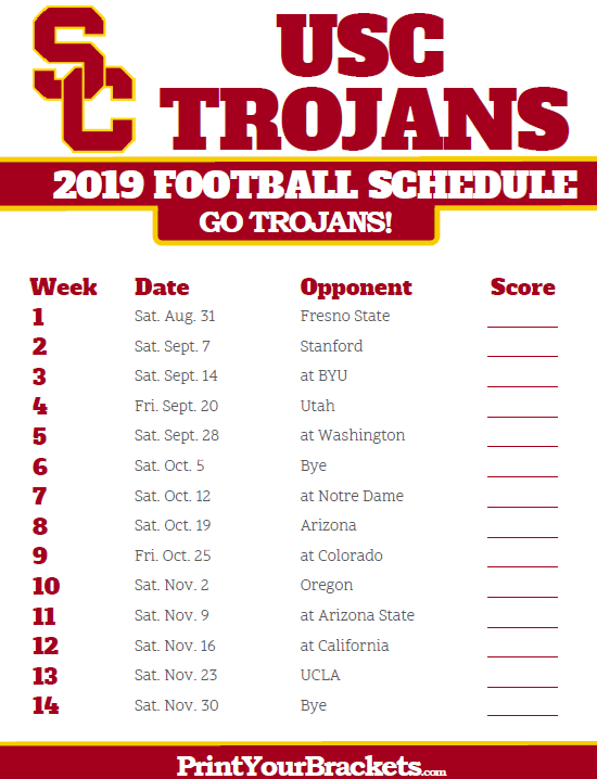 Wisconsin 2019 Football Schedule 2019 USC Trojans Football Schedule | Printable College Football