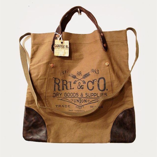 RRL canvas leather tote bag.  9db52d017bb0f
