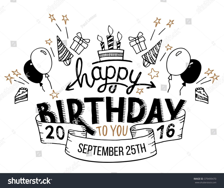 Happy Birthday To You Hand Drawn Typography Headline Fo
