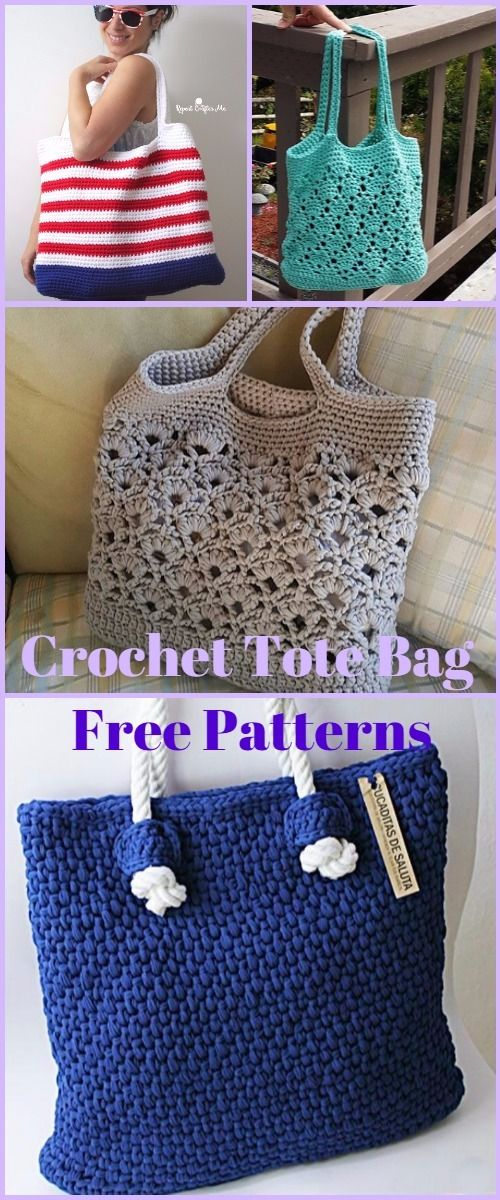 Crochet Tote Bag Free Patterns Tutorials | Crochet bags | Pinterest ...