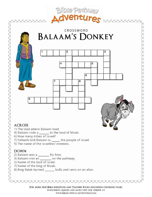 Free Bible Crossword Puzzle: Balaam\'s Donkey