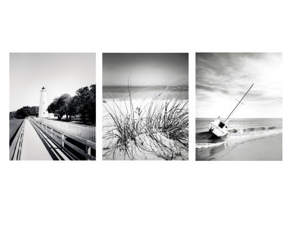 Nautical art 8x10 set of 3 black and white photography beach print outer banks wall art sailboat art ocracoke lighthouseocean decor