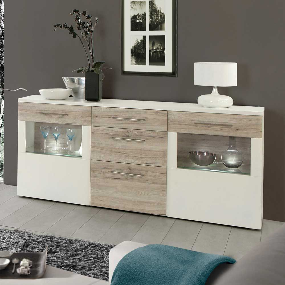 esszimmer sideboard in wei eiche mit glas jetzt bestellen unter. Black Bedroom Furniture Sets. Home Design Ideas