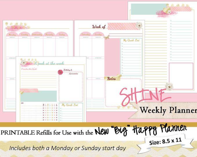 BIG Happy Planner PRINTABLE Daily Calendar Inserts / Refills - PDF - daily calendar printable