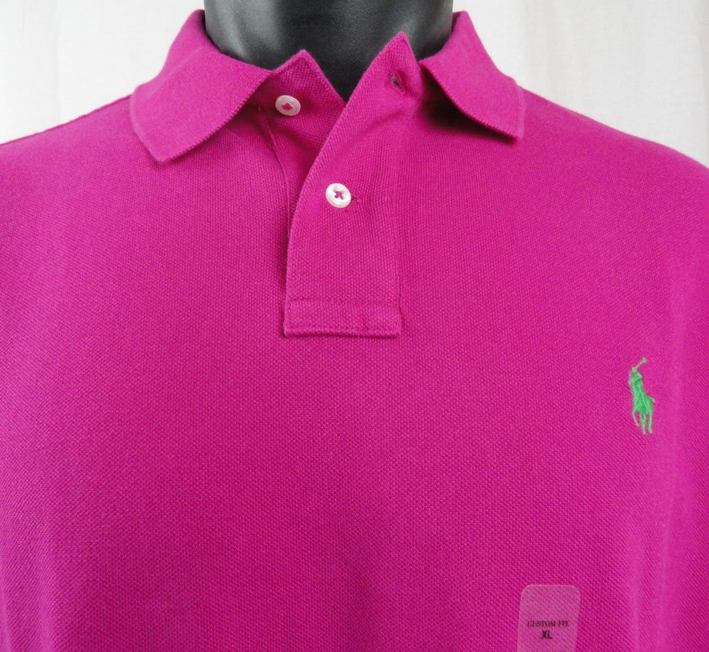 Ralph Lauren Pink Magenta Cotton Mesh Short Sleeve Custom Fit Polo ...