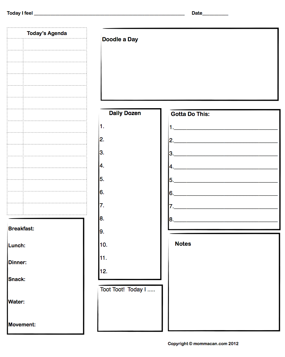 Free Printable Daily Agenda with Doodle Spot and Daily Meal Plan – Daily Agenda