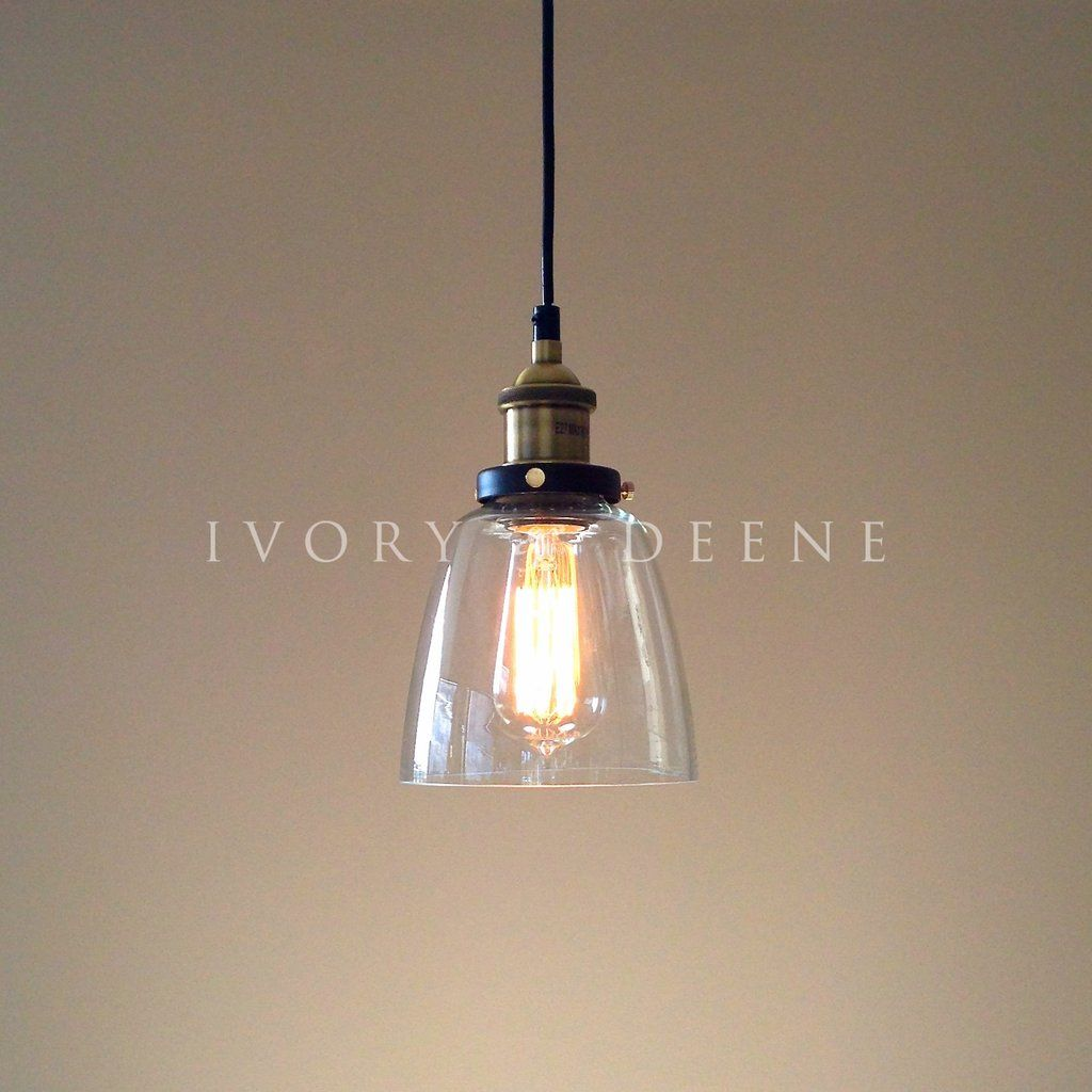 Lucy Pendant Light Clear Glass Brass Fittings