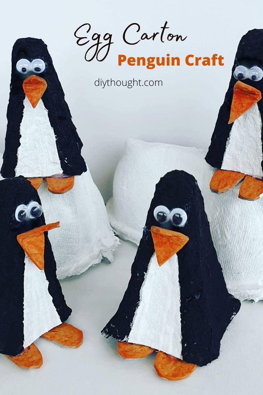 Egg Carton Penguin Craft In 2020 Penguin Craft Diy Penguin