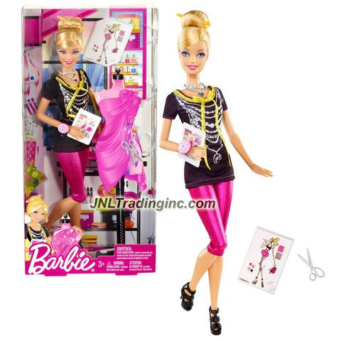 Barbie I Can Be Series 12 Doll Set Fashion Designer Barbie X2887 With Hairpin Necklace Trendy Bracelet Tablet Scissors And Shoes Barbie Girl Doll Barbie Playsets Barbie