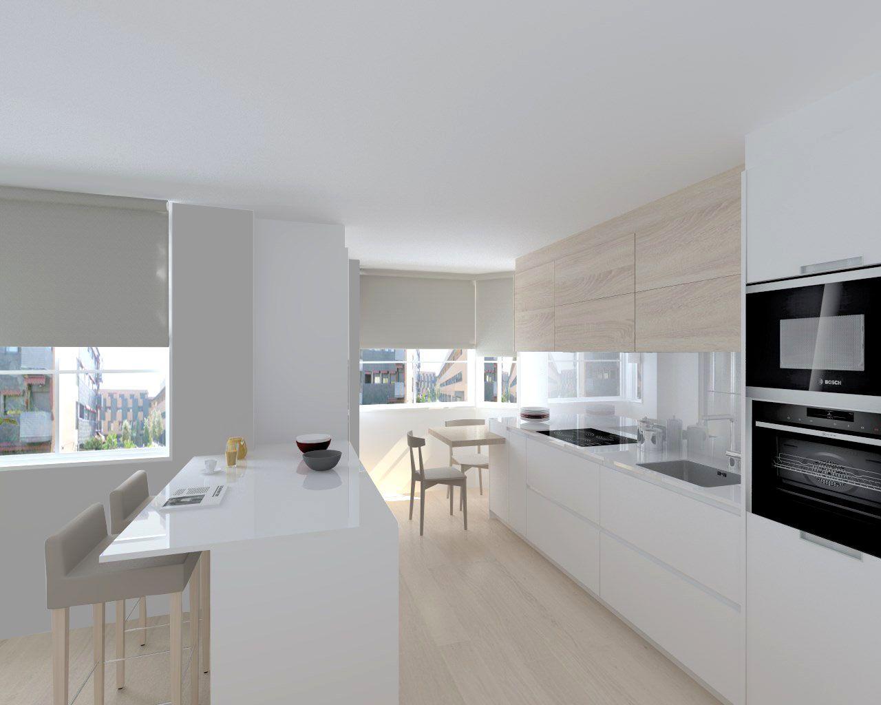 Cocina santos modelo line estratificado blanco roble for Cocinas claras modernas