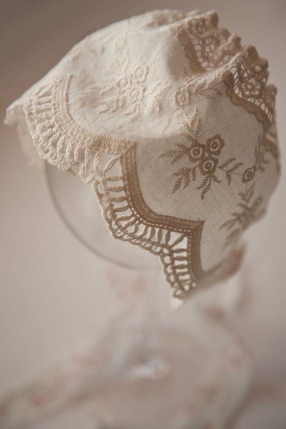 New Handmade Ivory Satin with Ivory Lace and Trim Baby Bonnet Elegant