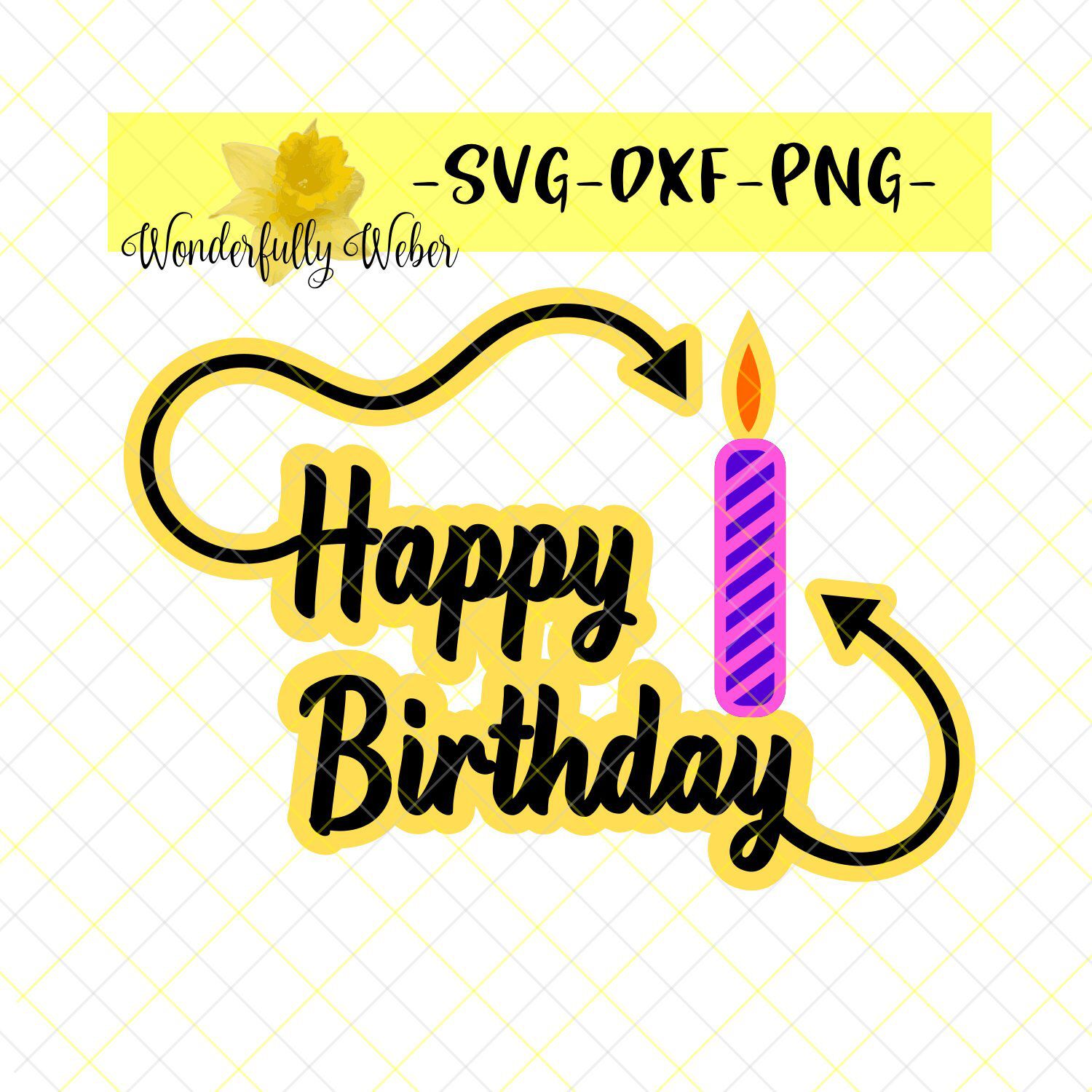 Happy Birthday Layered SVG with Candle and Arrows Cut file