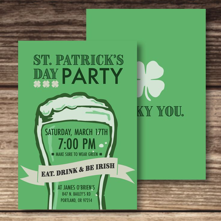 St Patrick Party Invite Adult Beer Invitation St Patrick S Day