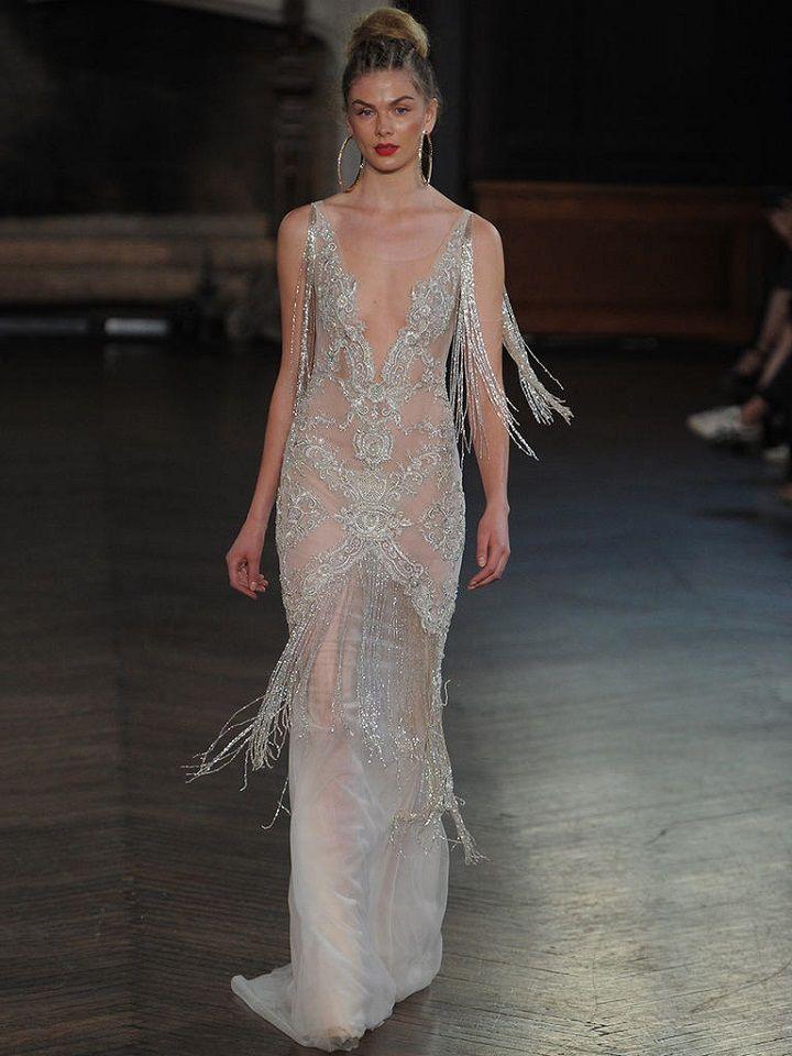 Berta sheer wedding gown with fringed beading | itakeyou.co.uk #wedding #weddingfashion #bridal #weddingdress #weddinggown #bridalgown #weddingdresses #weddinggowns #berta #bridalinspiration #weddinginspiration #engaged