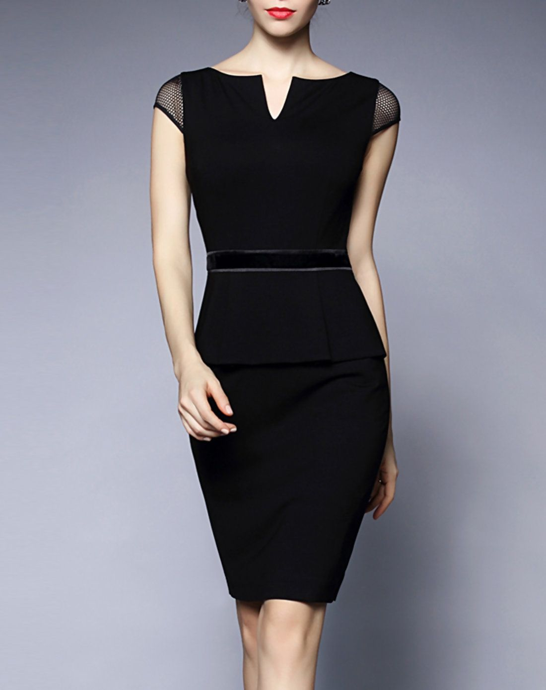 e9969587ace5 #AdoreWe #VIPme Bodycon Dresses - GYALWANA Cap Sleeve Peplum Bodycon Midi  Dress - AdoreWe
