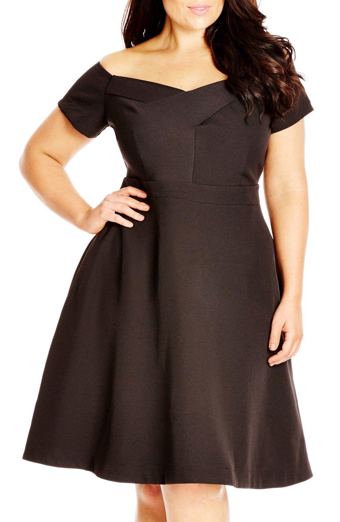 City Chic \'Dancer\' Dot Print Off-the-Shoulder Fit & Flare Dress ...