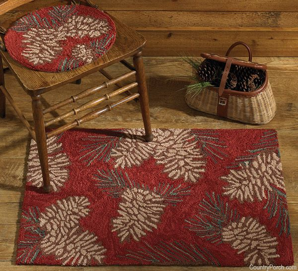 Pinecone Hooked Rug Rugs Country Cottage Decor Rug Hooking