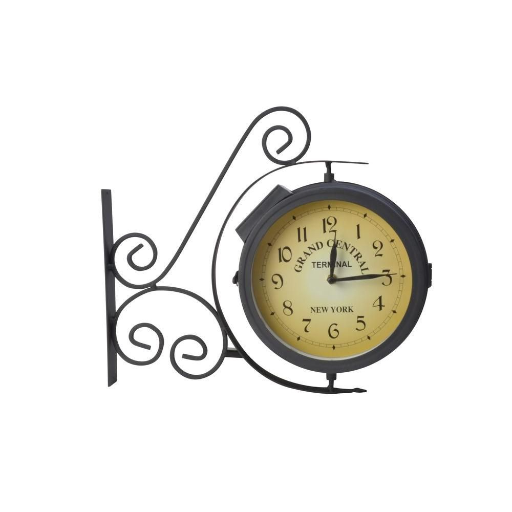 Solar Ed Integrated Led Wall Clock With Thermometer Outdoor Patio Light