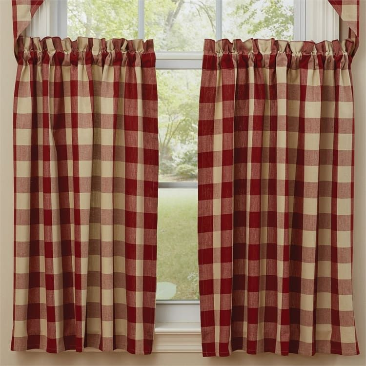 Garnet Red Wicklow Curtain Tiers 72 X 36