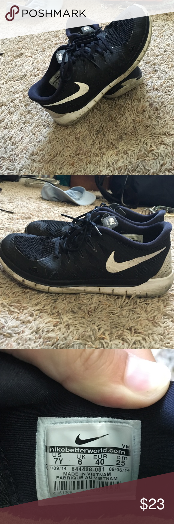 Black nike free runs Black and white, worn a bit but could be washed and would look very new. Got them in a kids size 7 which is equivalent to a women's 8.5 Nike Shoes Athletic Shoes