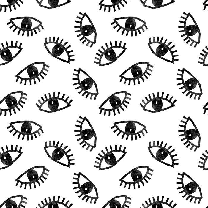 Eyes Linocut Black And White Minimal Eyes Carving Pattern Black And White Photo Wall Black And White Doodle White Pattern Background