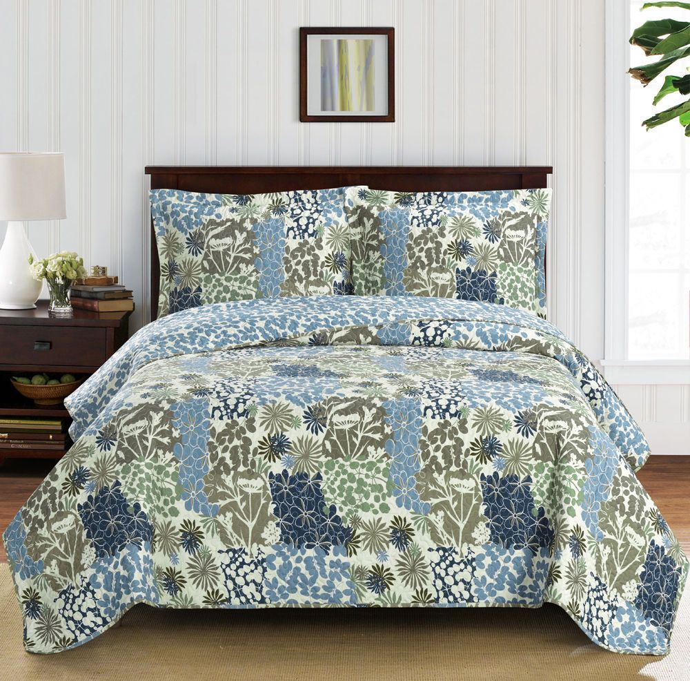 Elena Green Forest Quilt Bedding Oversized Reversible Quilt Set Bed Linens Luxury Coverlet Set Bed Spreads