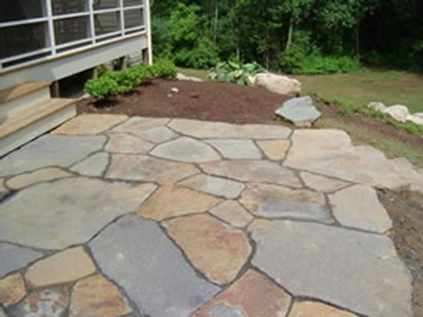 Flagstone Patio With Stone : Great stone patio ideas for your home backyard