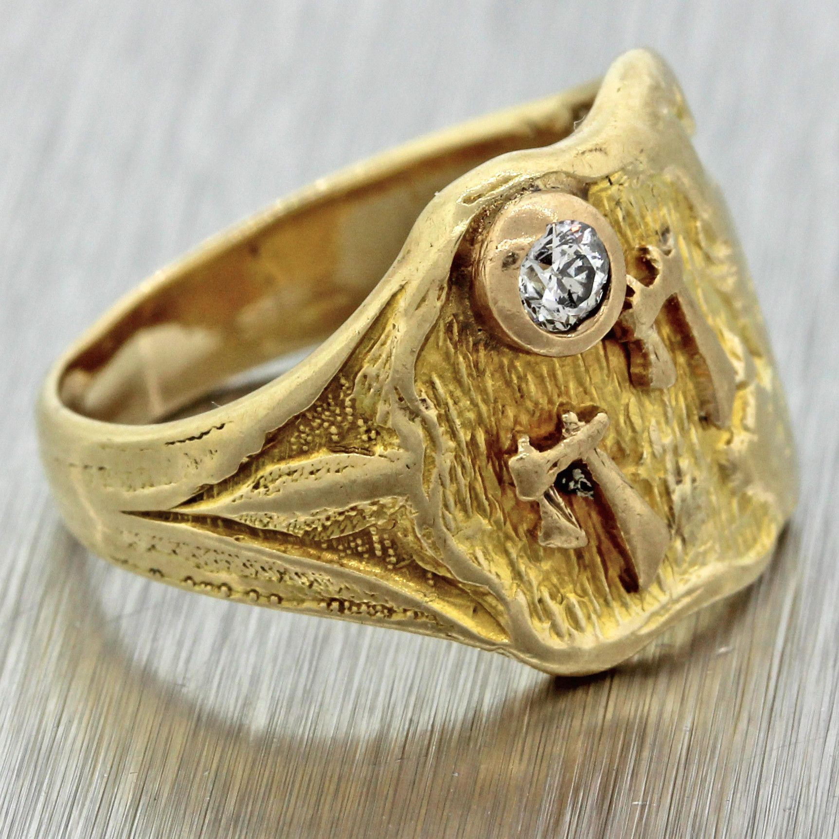1930s antique art deco 14k yellow gold .06ct diamond chinese