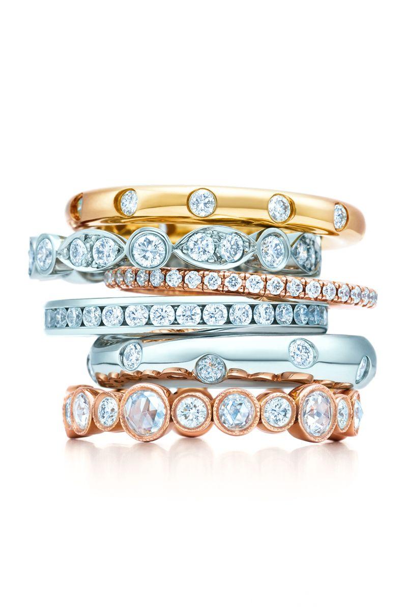 Tiffany Celebration® rings with diamonds in platinum, 18k ...