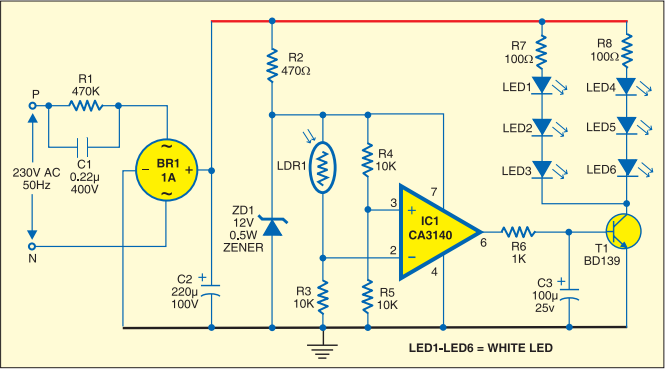 Simple Strip LED Lamp Circuit Diagram | Electrical & Electronics ...