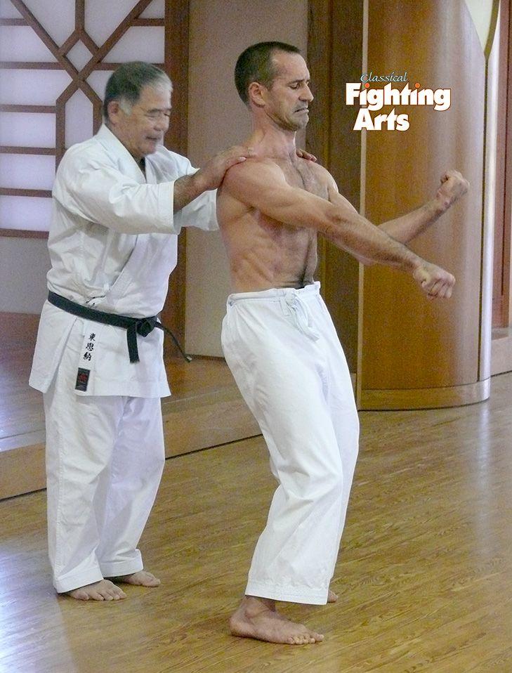 Cfa Magazine Karate Seminars In Okinawa Morio Higaonna Sensei 10th Dan Hanshi Goju Ryu Performing Sanchin Shime Karate Training Karate Martial Arts