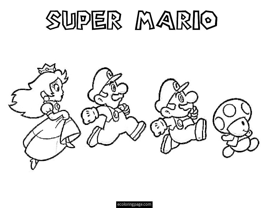 Mario Bros Mario Luigi Mushroom And Princess Coloring Page Printable Ecoloringpage Co Super Mario Coloring Pages Mario Coloring Pages Coloring Pages For Kids
