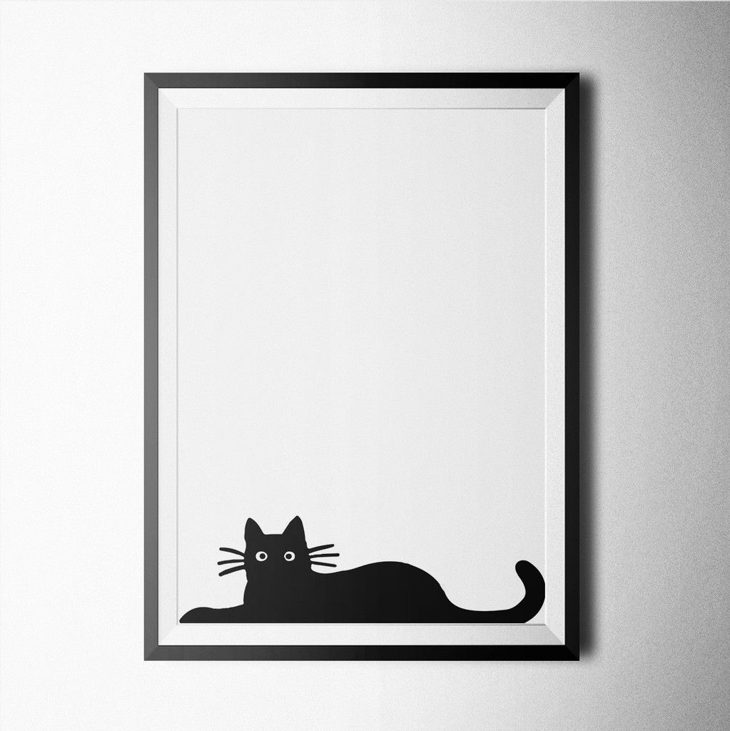 Black and white cat poster design for home or office decoration.