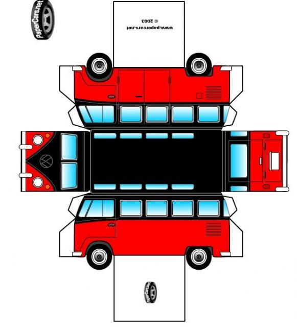 vwbus vw bus t1 samba als papierfaltmodell k ferblog kochrezepte pinterest bastelbogen. Black Bedroom Furniture Sets. Home Design Ideas