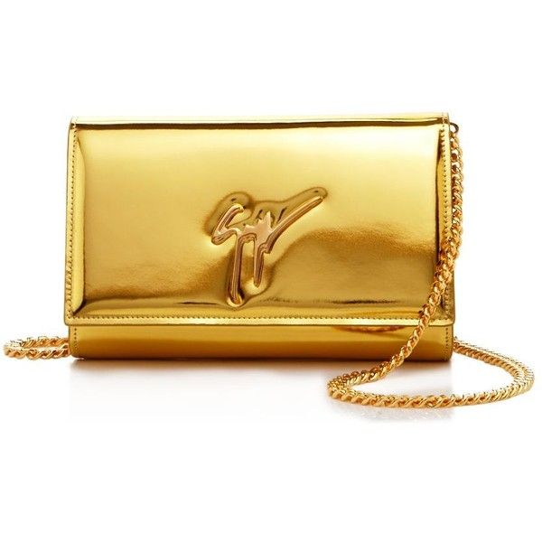 Giuseppe Zanotti Logo Metallic Patent Leather Clutch (49,255 INR) ❤ liked on Polyvore featuring bags, handbags, clutches, bolsas, metallic purse, logo handbags, metallic handbags, giuseppe zanotti and metallic clutches