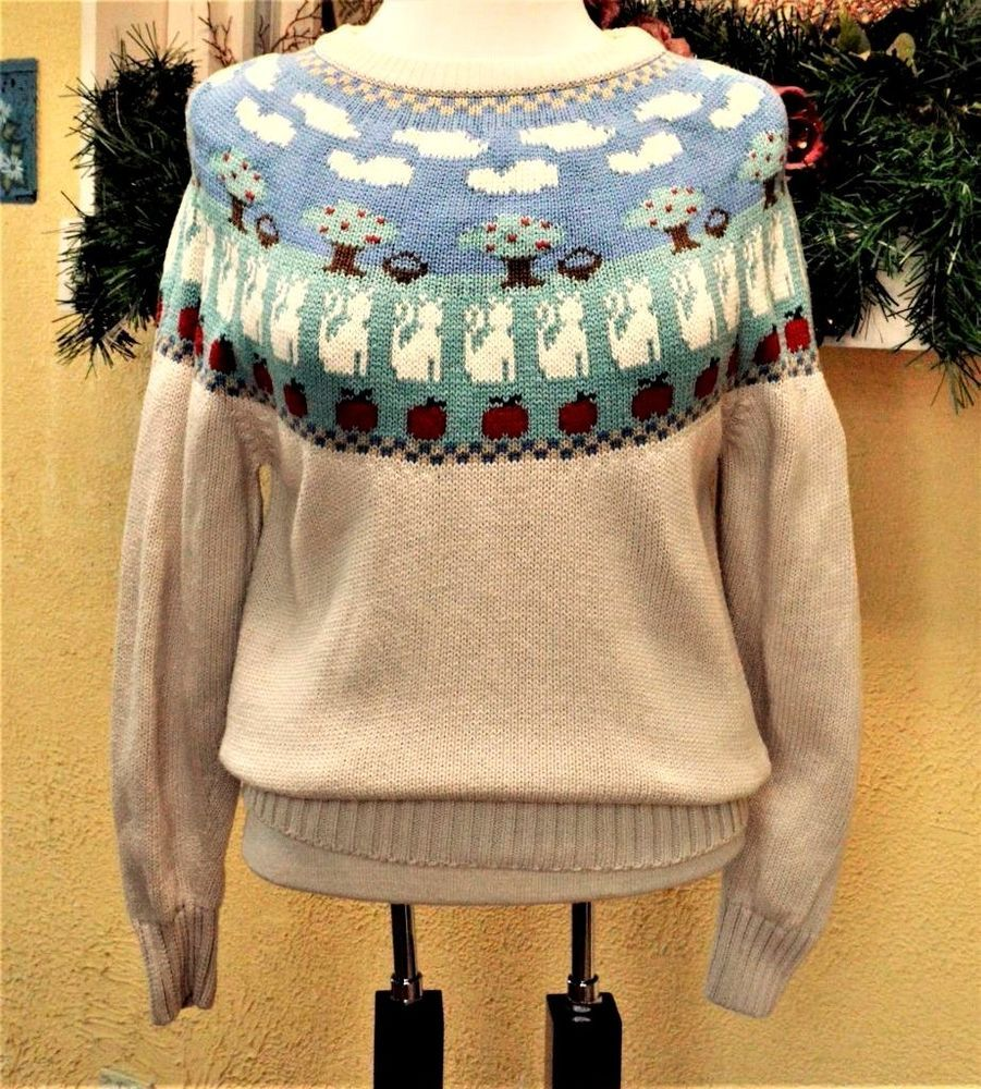 Vintage Eddie Bauer S Fair Isle Pull Over Sweater Beige/Multi Cats ...