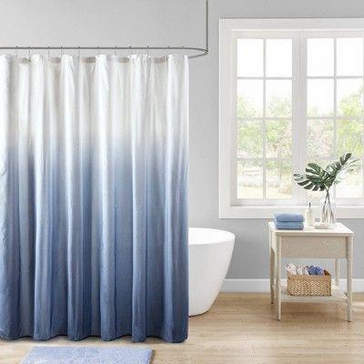 Maris Ombre Printed Seersucker Shower Curtain In 2020 Gray Shower Curtains Ombre Shower Curtain Blue Shower Curtains