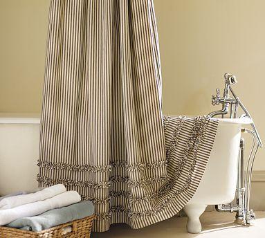 Ruffled Ticking Stripe Shower Curtain, Red | Pinterest | Ruffle ...