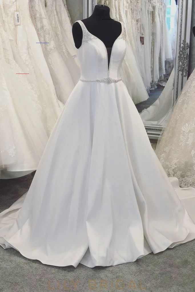 Beading Plunge Neck Sleeveless Backless Long Solid Satin Wedding Dress – LilyBridal <a class=pintag href=/explore/dress/ title=#dress explore Pinterest>#dress</a> <a class=pintag href=/explore/fashion/ title=#fashion explore Pinterest>#fashion</a> <a class=pintag href=/explore/homedecor/ title=#homedecor explore Pinterest>#homedecor</a> <a class=pintag href=/explore/lifequotes/ title=#lifequotes explore Pinterest>#lifequotes</a> <a class=pintag href=/explore/frases/ title=#frases explore Pintere