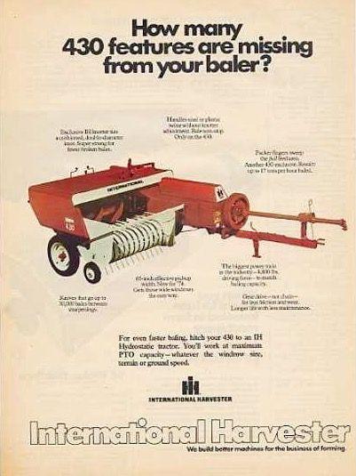 IH 241 Round Baler Ad   farm & ranch stuff   Farmall tractors