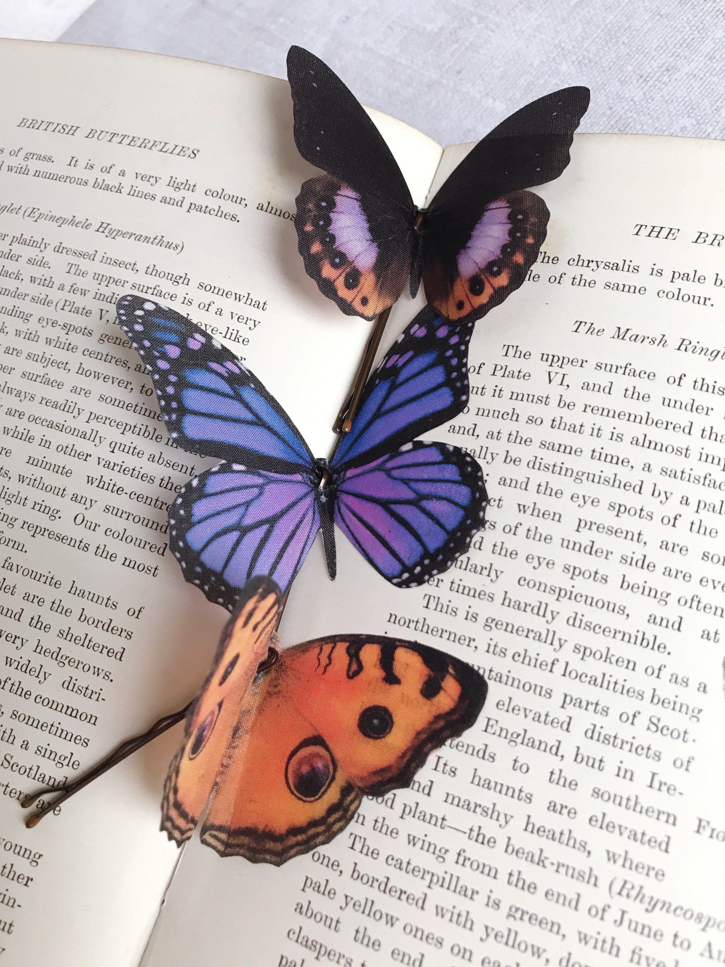 Photo of Set of Three Silk Butterfly Hair Pins – Purple & Orange
