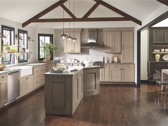 These Taupe Kitchen Cabinets Are Shown With Perimeter Cabinetry In True Paint On Maple And The Island Features Our Angora Finish Quartersawn Oak