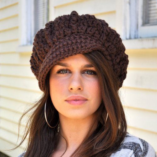 Crocheted Hat - Chocolate Brown - Crocheted Newsboy Hat - Win ...