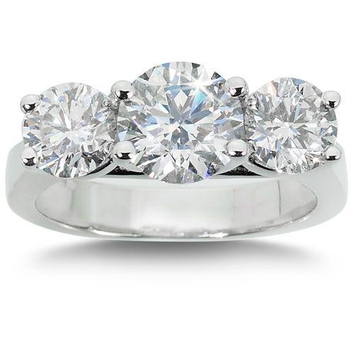 b1084b0f7 Round Brilliant 3.00 ctw VS2 Clarity, I Color Diamond Platinum Three Stone  Ring