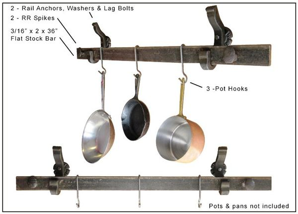 Rail Anchor Wall Mounted Pot Rack Is Made With Reclaimed, Repurposed  Hardened Railroad Steel Parts