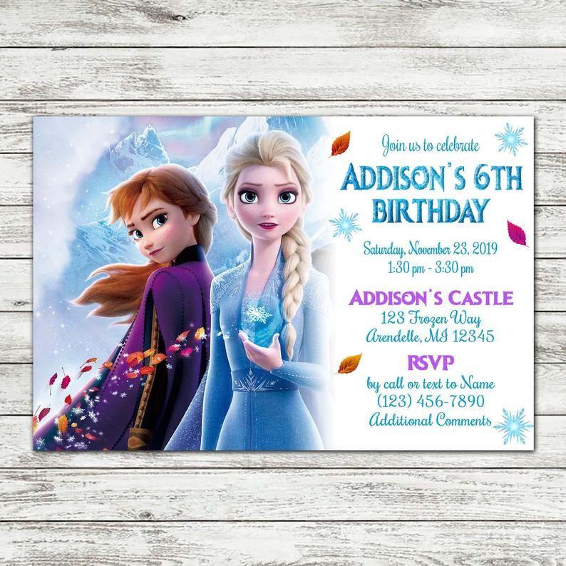 frozen 2 birthday party invite thank