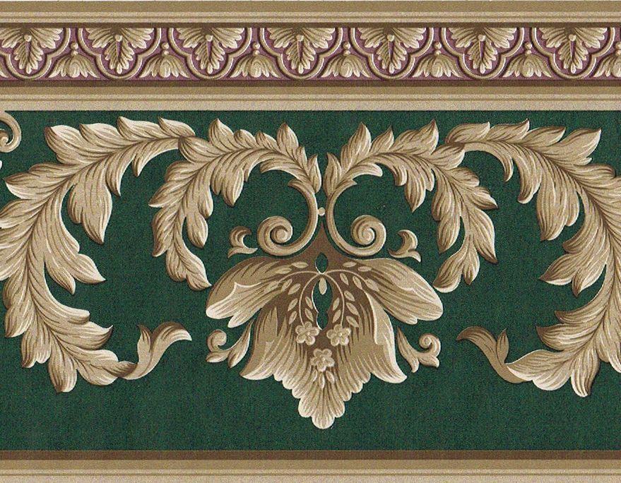 Victorian Green Burgundy Golden Brown Acanthus Leaf Scroll