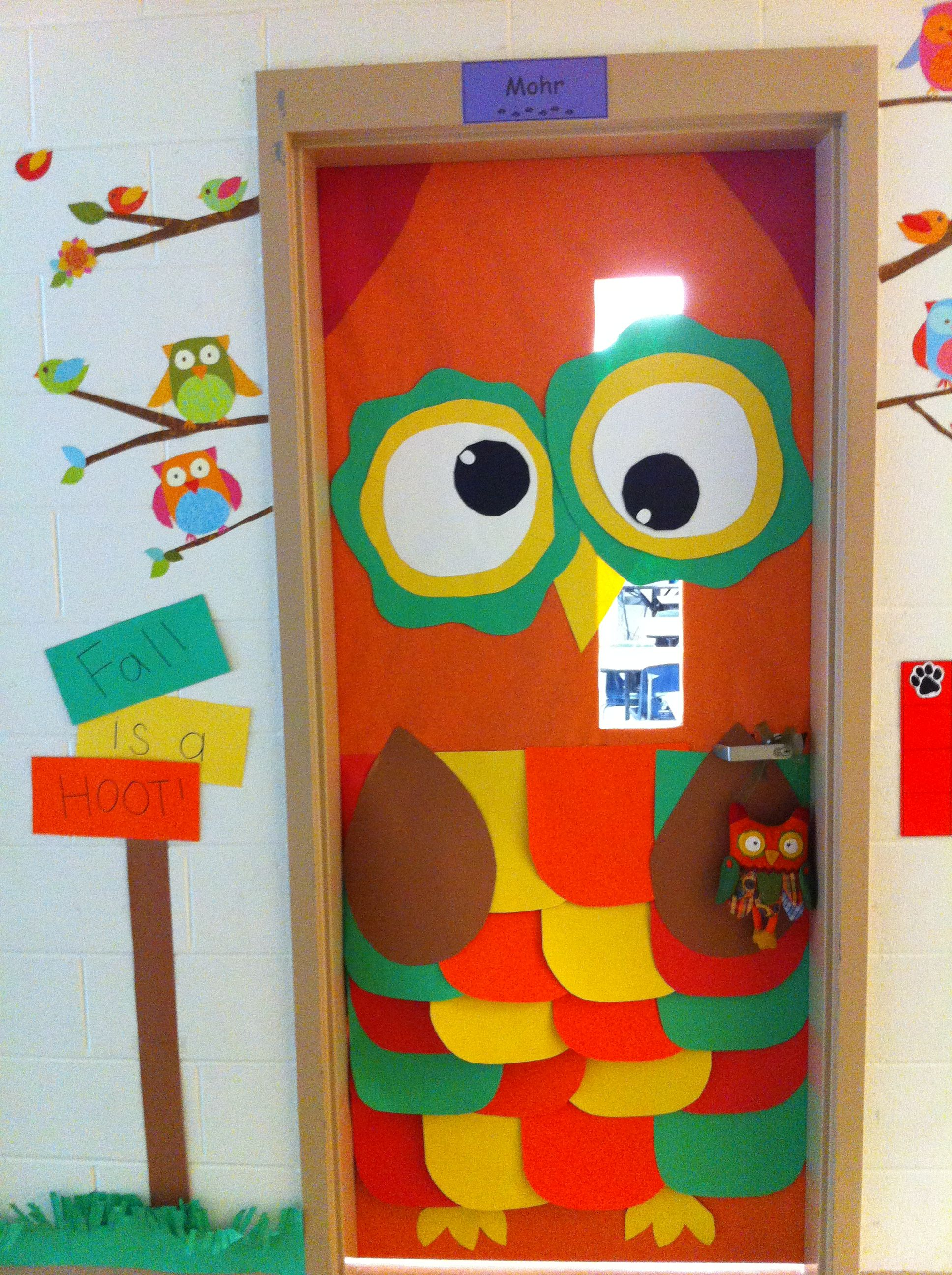 Owl Fall Classroom Door Decor Maybe Turn Into A Reading