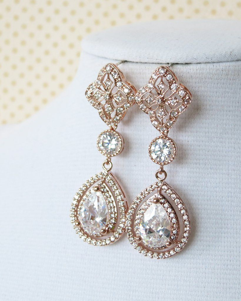 statement crystal pin earrings chandelier brides gold bride